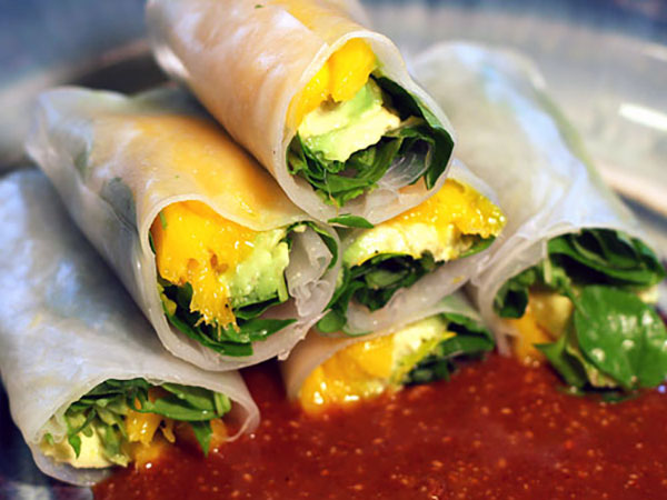 Mango Spring Rolls with Avacodo and Almond Sauce   ContraryCook.com